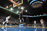 Nov 15, 2019; Los Angeles, CA, USA; UCLA Bruins forward Cody Riley (2) blocks a shot by UNLV Rebels guard Elijah Mitrou-Long (55) in the first half at Pauley Pavilion. UCLA defeated UNLV 71-54.