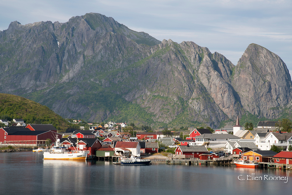 The picturesque fishing village of Reine surrounded by mountains on Moskenesoya, Lofoten Islands, Norway