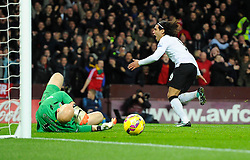 Manchester United's Radamel Falcao  celebrates his goal as Aston Villa's Brad Guzan lies dejected  - Photo mandatory by-line: Joe Meredith/JMP - Mobile: 07966 386802 - 20/12/2014 - SPORT - football - Birmingham - Villa Park - Aston Villa v Manchester United - Barclays Premier League