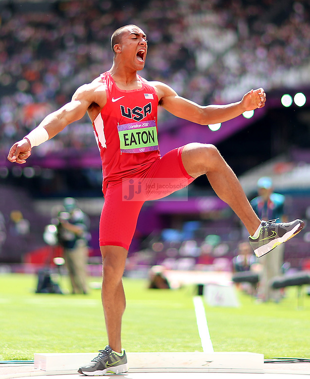 Ashton Eaton of the USA throws during the shot put portion of the decathlon during track and field at the Olympic Stadium during day 12 of the London Olympic Games in London, England, United Kingdom on August 8, 2012..(Jed Jacobsohn/for The New York Times)..