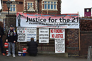 """""""Justice for the 21"""" Birmingham Pub Bombings protesters outside Villa Park during the EFL Sky Bet Championship match between Aston Villa and Derby County at Villa Park, Birmingham, England on 2 March 2019."""