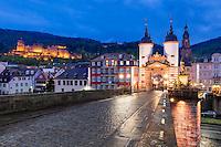 Heidelberg mit Blick auf die Altstadt mit Schloss, Heiliggeistkirche und Alter Brücke bei Nacht.