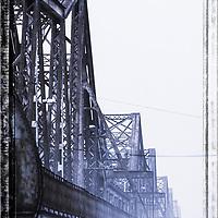 They old French built Long Bien bridge in Hanoi.