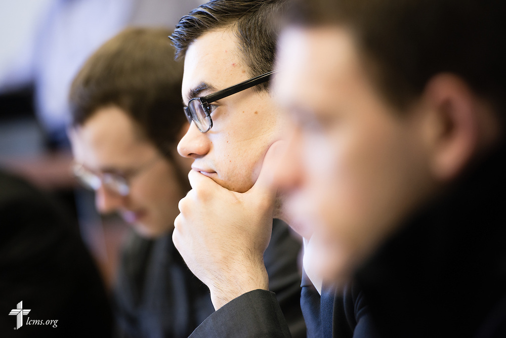 Seminarian Jacob Benson listens during class at Concordia Theological Seminary, Fort Wayne, Ind., on Wednesday, April 1, 2015. LCMS Communications/Erik M. Lunsford