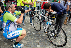 Jan Polanc with fans during reception of best Slovenian riders after Giro d'Italia 2019 and Tour of California 2019, on June 3rd, 2019, in Mestni trg, Ljubljana, Slovenia. Photo by Vid Ponikvar / Sportida
