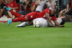 05.08.2015, Allianz Arena, Muenchen, GER, AUDI CUP, FC Bayern Muenchen vs Real Madrid, im Bild Douglas Costa (FC Bayern Muenchen #11) im Zweikampf gegen Daniel Carvajal (Real Madrid CF #15) // during the 2015 Audi Cup Match between FC Bayern Munich and Real Madrid at the Allianz Arena in Muenchen, Germany on 2015/08/05. EXPA Pictures © 2015, PhotoCredit: EXPA/ Eibner-Pressefoto/ Schüler<br /> <br /> *****ATTENTION - OUT of GER*****
