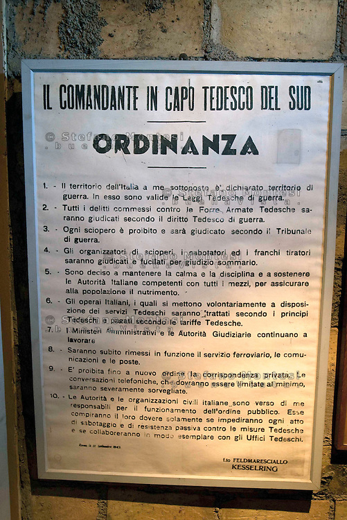 Roma 31 Gennaio 2010.Museo Storico della Liberazione .Via Tasso 155,  era il Comando SS e Gestapo, della polizia Nazista  durante l'occupazione da parte delle  Germania durante la Seconda Guerra Mondiale..Le ordinanze dell' esercito di occupazione tedesco, firmata dal Feldmaresciallo Kesselring.Rome, January 31, 2010.Historical Museum of the Liberation.Via Tasso 155, was the SS and Gestapo Command, the police during the Nazi occupation by Germany during the Second World War..Ordinances' s German occupation army, signed by Field Marshal Kesselring