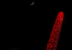 Red Wembley Arch with the moon  - Photo mandatory by-line: Joe Meredith/JMP - Mobile: 07966 386802 - 22/03/2015 - SPORT - Football - London - Wembley Stadium - Bristol City v Walsall - Johnstone Paint Trophy Final