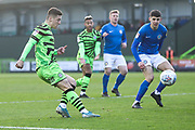 Forest Green Rovers Jack Aitchison(29), on loan from Celtic crosses the ball during the EFL Sky Bet League 2 match between Forest Green Rovers and Macclesfield Town at the New Lawn, Forest Green, United Kingdom on 29 December 2019.