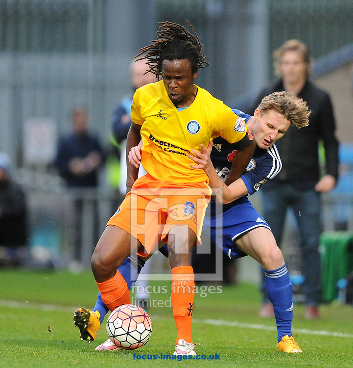 Marcus Bean of Wycombe Wanderers holds the ball up during the FA Cup match at Shay Stadium, Halifax<br /> Picture by Richard Land/Focus Images Ltd +44 7713 507003<br /> 08/11/2015