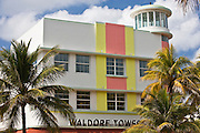Waldorf Towers Hotel art deco architecture on Ocean Drive, South Beach, Miami, Florida, USA