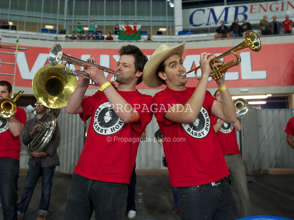 CARDIFF, WALES - Wednesday, August 10, 2011: Wales' supporters brass band during an International Friendly match against Australia at the Cardiff City Stadium. (Photo by David Rawcliffe/Propaganda)