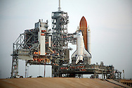 STS-135 Atlantis sits on Launchpad 39A at Kennedy Space Center in Florida awaiting her final mission, and the end of the space shuttle program