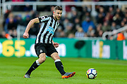 Paul Dummett (#3) of Newcastle United plays a short pass during the Premier League match between Newcastle United and Huddersfield Town at St. James's Park, Newcastle, England on 31 March 2018. Picture by Craig Doyle.