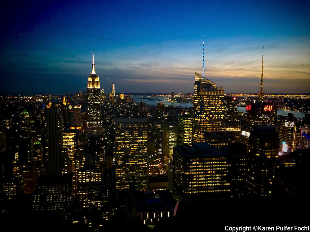 New York City as seen from the top of Rockefeller Center at Sunset, facing south.