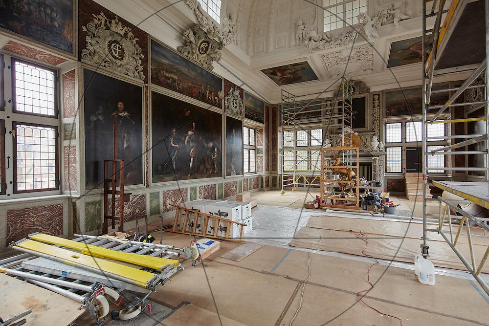 Frederiksborg Slot, audienssalen under restaurering, stilladser