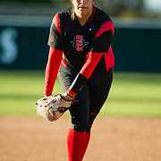 02 March 2018: San Diego State softball hosts Minnesota on day two of the San Diego Classic I at Aztec Softball Stadium. San Diego State starting pitcher Marissa Moreno (33) seen here in the top of the second against Minnesota. The Aztecs beat the #21/20 Gophers 6-2.<br /> More game action at sdsuaztecphotos.com