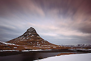 Long exposure shot of Kirkjufell, the mountain to the west of the town of Grundarfjörður in the Snaefellsnes Peninsular in Western Iceland