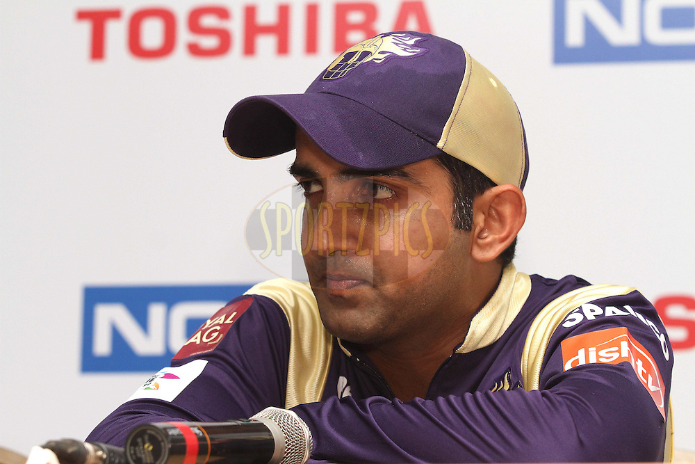 Kolkata Knight Riders captain Gautam Gambhir during the post match press conference during Match 5 of the NOKIA CLT20 between The Kolkata Knight Riders and Somerset held at the Rajiv Gandhi International Stadium, Hyderabad on the 25th September 2011..Photo by Shaun Roy/BCCI/SPORTZPICS