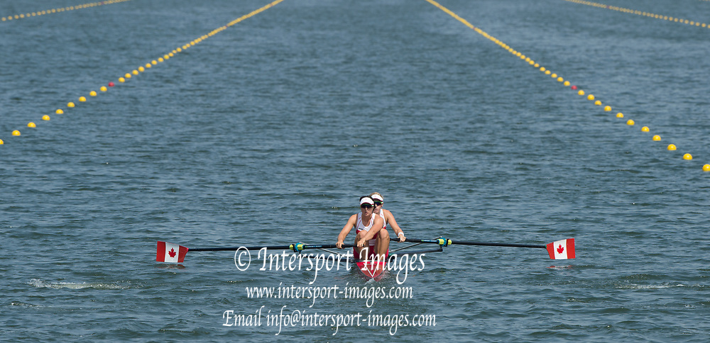 Rio de Janeiro. BRAZIL.  CAN W2-, Bow. <br />  Jennifer  MARTINS and Nicole HARE, 2016 Olympic Rowing Regatta. Lagoa Stadium,<br /> Copacabana,  &ldquo;Olympic Summer Games&rdquo;<br /> Rodrigo de Freitas Lagoon, Lagoa. Local Time 11:10:18  Tuesday  09/08/2016 <br /> [Mandatory Credit; Peter SPURRIER/Intersport Images]