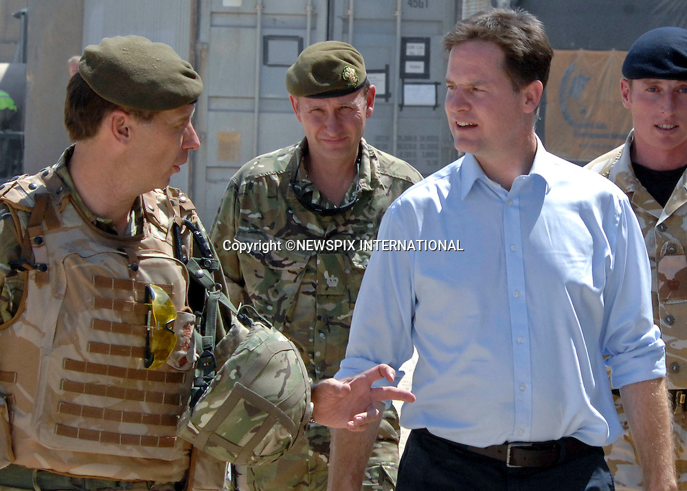 "NICK CLEGGDeputy Prime Minister Nick Clegg, visited Helmand Province in Afghanistan to thank British troops for their efforts in bringing security to the people of Helmand Province. The Deputy Prime Minister was on a one-day flying visit to the country, including a visit to the hospital and the new training village in Camp Bastion, which followed by him paying his respects at the war memorial. Camp Bastion, Afghanistan_31/08/2010.Photo Credit: ©G Kendall_Newspix International..**ALL FEES PAYABLE TO: ""NEWSPIX INTERNATIONAL""**..PHOTO CREDIT MANDATORY!!: NEWSPIX INTERNATIONAL..IMMEDIATE CONFIRMATION OF USAGE REQUIRED:.Newspix International, 31 Chinnery Hill, Bishop's Stortford, ENGLAND CM23 3PS.Tel:+441279 324672  ; Fax: +441279656877.Mobile:  0777568 1153.e-mail: info@newspixinternational.co.uk."