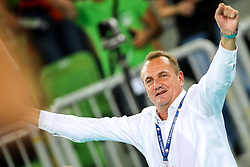 Metod Ropret, president of OZS celebrate victory after volleyball match between National teams of Slovenia and Poland in semifinal of 2019 CEV Volleyball Men's European Championship in Ljubljana, on September 26, 2019 in Arena Stozice. Ljubljana, Slovenia. Photo by Matic Klansek Velej / Sportida