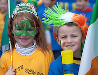 18/03/2013  Michael Fahy Aine Smollen from Kilbeacanty National School  in the Gort town in County Galway St Patrick's Day Parade. Picture:Andrew Downes.