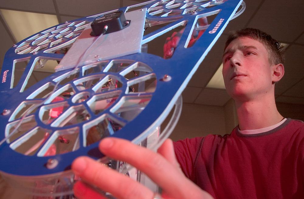 UFO Lab in Russ College: Joshua B. Thomas(green OU sweat shirt), Barry Mancz