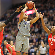 HARTFORD, CONNECTICUT- DECEMBER 19: Napheesa Collier #24 of the Connecticut Huskies drives to the basket defended by Shayla Cooper #32 of the Ohio State Buckeyes and Sierra Calhoun #4 of the Ohio State Buckeyes during the UConn Huskies Vs Ohio State Buckeyes, NCAA Women's Basketball game on December 19th, 2016 at the XL Center, Hartford, Connecticut (Photo by Tim Clayton/Corbis via Getty Images)