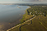 Aerial view of Charleston harbor Charleston, SC.