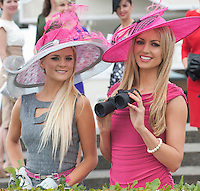 Jill Macken from Meath (Winner Anthony Ryan?s Best Dressed Lady Galway Races 2006) and Rosanna Davison guest judge for this year?s Anthony Ryan?s Best Dressed Lady Competition at the Galway Races Summer Festival at the launch of the  Anthony Ryan?s Best Dressed Lady on the 2nd of August 2012  at the Galway Races. Photo:Andrew Downes.