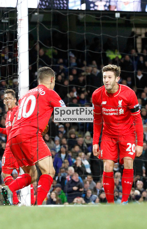 Philippe Coutinho and Adam Lallana celebrate the third goal during Manchester City vs Liverpool, Barclays Premier League, Saturday 21st November 2015, Etihad Stadium, Manchester
