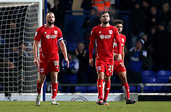 Bristol City look dejected after conceding a goal to Kevin Bru of Ipswich Town - Mandatory by-line: Robbie Stephenson/JMP - 30/12/2016 - FOOTBALL - Portman Road - Ipswich, England - Ipswich Town v Bristol City - Sky Bet Championship