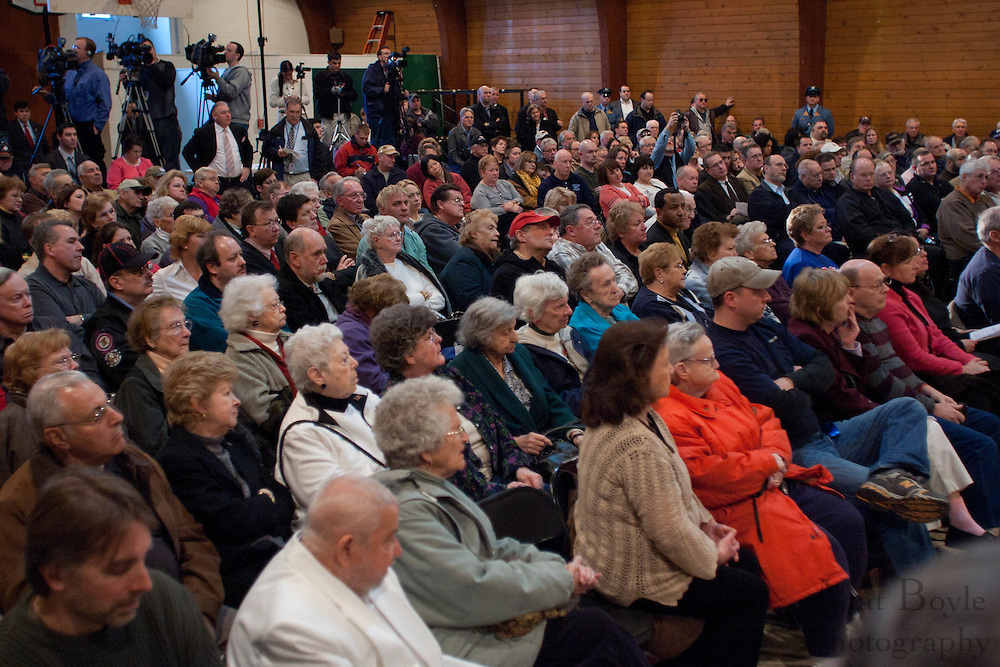 A large crowd was in attendance at a town hall meeting hosted New Jersey Governor Chris Christie at the John Paul II Center in West Deptford NJ.