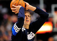Mar. 08, 2012; Phoenix, AZ, USA;  Dallas Mavericks forward Dirk Nowitzki (41) warms up prior to the game against  the Phoenix Suns at the US Airways Center.  Mandatory Credit: Jennifer Stewart-US PRESSWIRE.