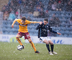 Motherwell's Dominic Thomas  and Dundee's Alex Harris. <br /> half time : Dundee 3 v 1 Motherwell, SPFL Premiership played 10/1/2015 at Dundee's home ground Dens Park.