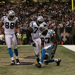 2008 December, 28: Carolina Panthers wide receiver Muhsin Muhammad (87) celebrates with teammates Jeremy Bridges (73) and Dante Rosario (88) after scoring a touchdown during a 33-31 week 17 loss by the New Orleans Saints to NFC South divisional rivals the Carolina Panthers at the Louisiana Superdome in New Orleans, LA.