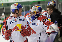 02.11.2012, Hala Tivoli, Ljubljana, SLO, EBEL, HDD Telemach Olimpija Ljubljana vs EC Red Bull Salzburg, 18. Runde, in picture David Clarkson (EC Red Bull Salzburg, #17) and Luka Gracnar (EC Red Bull Salzburg, #33) during the Erste Bank Icehockey League 18th Round match between HDD Telemach Olimpija Ljubljana and EC Red Bull Salzburg at the Hala Tivoli, Ljubljana, Slovenia on 2012/11/02. (Photo By Matic Klansek Velej / Sportida)