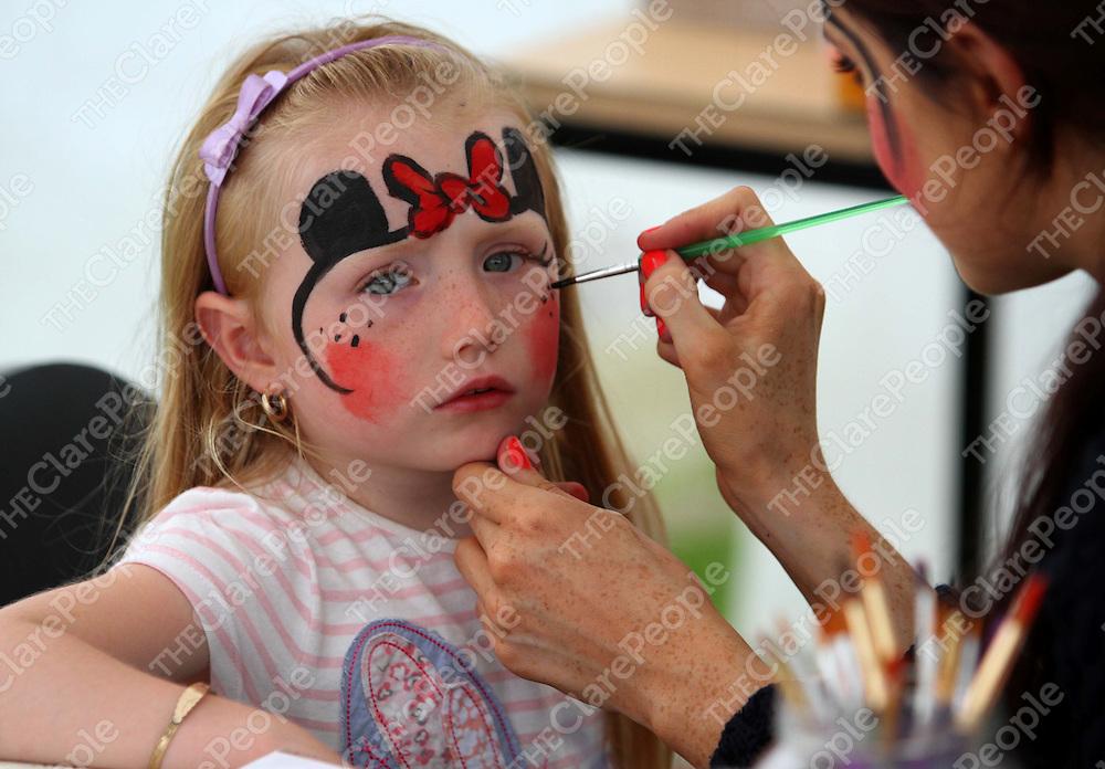 4/8/13 Holly McInerney was getting her face painted at the Cooraclare Field Day. Pic Tony Grehan