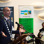 05/03/2019<br /> Pictured is Cllr Daniel Butler, Mayor of the Metropolitan District of Limerick.<br /> <br /> Fairtrade worker Sara Montoya, from a Fairtrade Coffee Co-op in Colombia was the special guest in Limerick City and County Council chamber today at an event to coincide with Fairtrade Fortnight.<br />  <br /> Sara joined Fairtrade supporters from across Limerick and Ireland for the annual initiative, which features a programme of talks and community events aimed at promoting awareness of Fairtrade and Fairtrade-certified products.<br />  <br /> Speaking at the event in Dooradoyle, Sara outlined the success and benefits of the Fairtrade movement in Colombia and how important it is for people in the developed world think of Fairtrade products when shopping.<br />  <br /> This year's campaign 'Create Fairtrade' invites us all to use our imagination and create fairtrade in our lives.<br />  <br /> Young people from across Limerick city and county were also a focus of the event as they displayed their posters, which they created to help change the way people think about trade and the products on our shelves.<br /> Photo by Diarmuid Greene