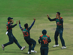 September 27, 2018 - Abu Dhabi, United Arab Emirates - Bangladesh cricketers celebrate during the Asia Cup 2018 cricket match between Bangladesh and Pakistan at the Sheikh Zayed Stadium,Abu Dhabi, United Arab Emirates on September 26, 2018  (Credit Image: © Tharaka Basnayaka/NurPhoto/ZUMA Press)