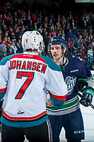 KELOWNA, CANADA - APRIL 30: Lucas Johansen #7 of the Kelowna Rockets shakes hands with Mathew Barzal #13 of the Seattle Thunderbirds on April 30, 2017 at Prospera Place in Kelowna, British Columbia, Canada.  (Photo by Marissa Baecker/Shoot the Breeze)  *** Local Caption ***