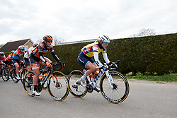 Lotta Lepistö (FIN) leads the bunch at Healthy Ageing Tour 2019 - Stage 2, a 134.4 km road race starting and finishing in Surhuisterveen, Netherlands on April 11, 2019. Photo by Sean Robinson/velofocus.com