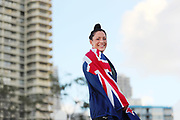 Sophie Pascoe poses after being named New Zealand team flag bearer for the Gold Coast 2018 Commonwealth Games. Gold Coast 2018 Commonwealth Games, New Zealand Flag Bearer Announcement Ceremony, Gold Coast, Australia. 3 April 2018 © Copyright Photo: Anthony Au-Yeung / www.photosport.nz
