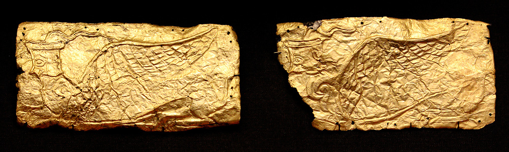 Mycenaean Sheet gold covers for glass vase-shaped plaques. Circa 1350-1200 BC. Ancient Greek.