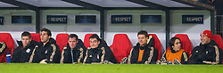 EINDHOVEN, THE NETHERLANDS - Tuesday, December 9, 2008: Liverpool's unused substitute captain Steven Gerrard MBE sits on the bench during his side's 3-1 victory over PSV Eindhoven during the final UEFA Champions League Group D match at the Philips Stadium. (Photo by David Rawcliffe/Propaganda)