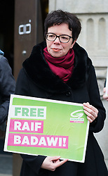 16.01.2015, König Abdullah Zentrum, Wien, AUT, Gruene, Mahnwache für verurteilten saudischen Blogger Raif Badawi. im Bild Nationalratsabgeordnete der Gruenen Tanja Windbüchler-Souschill // Member of parliament of the greens Tanja Windbuechler Souschill during picket of the greens according to the convicted blogger Raif Badawi at KAICIID Dialogue Centre in Vienna, Austria on 2015/01/16. EXPA Pictures © 2015, PhotoCredit: EXPA/ Michael Gruber