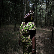 Nobel Peace Prize laureate Wangari Mathai in  Karura Forest in Nairobi.