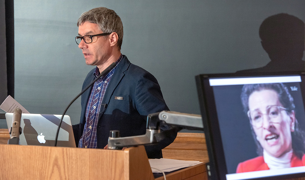Photo by Mara Lavitt<br /> May 3, 2019<br /> Linsly-Chittenden Hall, Yale University, New Haven.<br /> <br /> The Fortunoff Video Archive for Holocaust Archives at Yale 2nd annual Geoffrey H. Hartman Fellowship Symposium.
