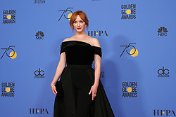 "Actor Christina Hendricks at NBC's ""75th Annual Golden Globe Awards"" press room held at the Beverly Hilton Hotel on January 07, 2018 in Beverly Hills, CA, USA (Photo by Carlos Amaya/Sipa USA)"